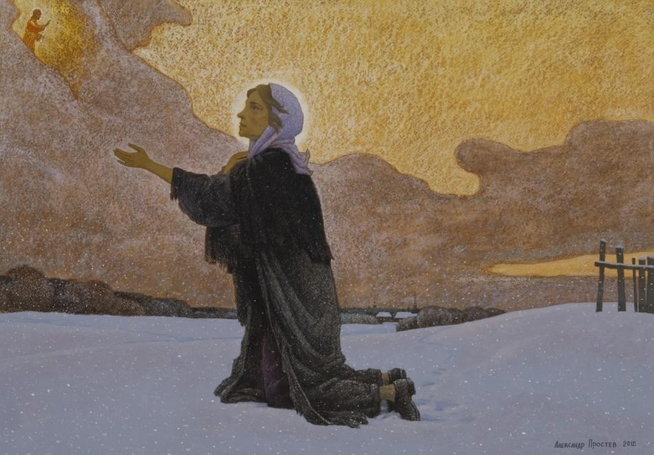 святая на картине