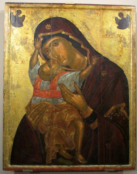 Икона Богоматери с младенцем с распятием на обороте