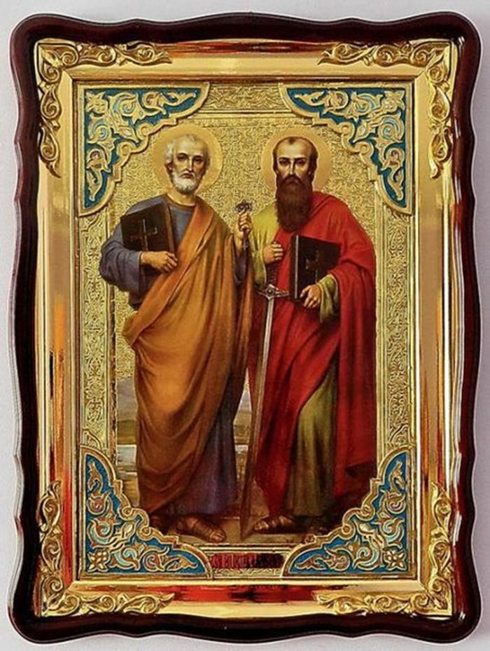 икона апостолов Петра и Павла в рамке